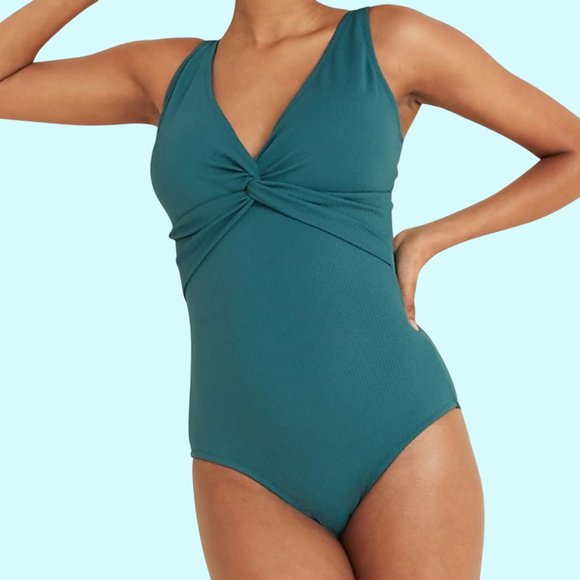 Old Navy Textured Twist-Front One-Piece Swimsuit